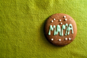 Cookie for Mother's day on green background